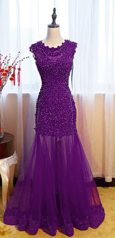 The purple mermaid lace dress has long been