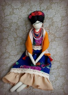Frida Kahlo tela muñeca OOAK tela muñeca arte por SashaMedovaya