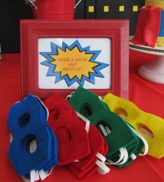 Mask favors at a superhero birthday party! See more party ideas at CatchMyParty.com!