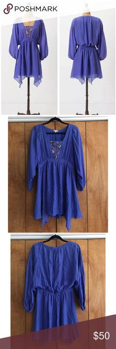 Leifsdottir 10 Sequin Beaded 100% Silk Dress Size 10. VGUC- some sequins are folded and/or missing. No stains or snags. Anthropologie brand. Boho hippie vibe, similar to Free People Anthropologie Dresses Long Sleeve