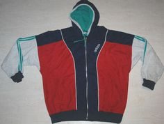 RARE VINTAGE ADIDAS TRACKSUIT TOP JACKET HOODIE IBIZA RED BLUE GREEN GB 42/44 L
