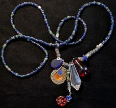 Quiero compartir lo último que he añadido a mi tienda de #etsy: Protection Amulet Necklace -Blue Vintage Jewelry, Old African Pendant, African Trade Beads http://etsy.me/2HRdwkv  #joyeria #collar #azul #bronce #tradebeads #monedasdecambio #chic #amuleto #boho #jewelry