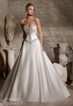 Mori Lee - Diamanté Beaded Embroidery on Duchess Satin                                                                                                                                                                                 More