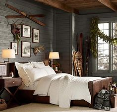 Winter Lodge Cabin Lakehouse Bedroom Rustic Cozy Skis Snowshoes Naturals Neutral Grey Wood White Black And Outdoor Framed Photos Modern Interior