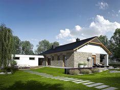 Projekt domu Daniel G2 energo 120,64 m2 - koszt budowy - EXTRADOM Modern House Floor Plans, House Plans, Modern Architecture House, Modern House Design, Modern Bungalow, Facade House, Home Fashion, Ideal Home, Mansions