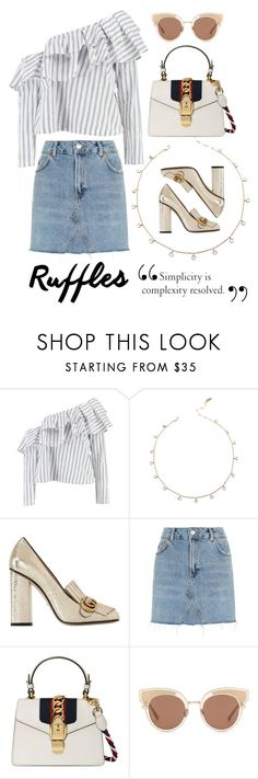 """""""Ruffles"""" by camilleshanel ❤ liked on Polyvore featuring Boohoo, Gucci, Topshop and Bottega Veneta"""