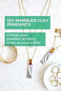 Change your jewellery as many times as your outfits by DIYing this gorgeous marbled clay pendant. Who says you can have too many necklaces? Not us! #diy #jewellery #diystyle