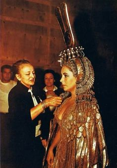 Irene Sharaff on the set of Cleopatra with Elizabeth Taylor.