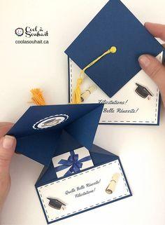 Voici un tutoriel pour vous aider à fabriquer une carte de graduation dans laquelle vous allez pouvoir y insérer de l'argent, une carte cadeau ou un petit mot. #graduation, #diplomé, #congrats Graduation Party Themes, Graduation Invitations, Graduation Cards Handmade, Graduation Gifts, Fancy Fold Cards, Folded Cards, Paper Flowers Craft, Paper Crafts, Money Cards