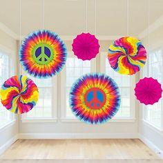 6 Assorted Feeling Groovy 60's Disco Tie-Dye Party Hanging Paper Fan Decorations