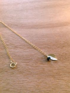 Tiny Onyx and Leaf Charm Necklace Simple Gold by simpleandgold