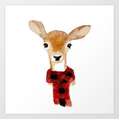 Buy Fawn with buffalo check scarf Art Print by craftberrybush. Worldwide shipping available at Society6.com. Just one of millions of high quality products available.