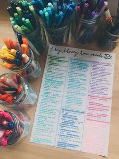 Organised your pens by colour, type of pen, or some other miscellaneous factor.   23 Things Anyone Who's Slightly Obsessed With Stationery Has Secretly Done