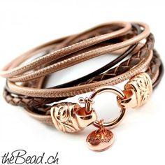 Lederarmband925 sterling silber rose gold vergoldet // leather bracelet 925 stering silver rosegold plated // swiss design by theBead.ch !