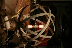 Wine barrel ring chandelier
