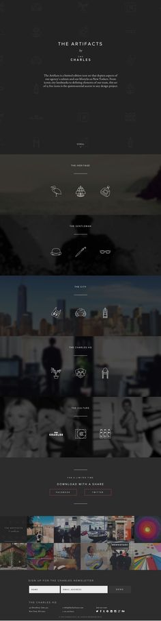 Responsive one pager for 'The Artifacts' - a new free thin line icon set by digital agency 'The Charles NYC'. Lovely effect with the icons randomly highlighting in the icon background pattern.