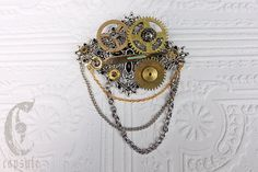 Steampunk Victorian Silver tone Diamond Shape Filigree Brooch with Antique Brass Clock Gears Cogs, Hand and Chains