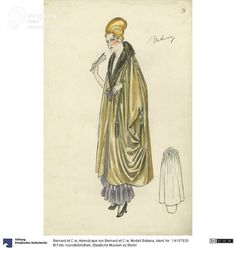 'Batavia' evening cape, drawing, Bernard et C.ie, 1913. Courtesy Kunstbibliothek, Staatliche Museen zu Berlin, CC BY NC SA.