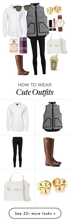 """cute fall outfit!!"" by emidunham on Polyvore featuring Donna Karan, J.Crew, Isaac Mizrahi, Elie Saab, Ray-Ban, Tory Burch, Versace, Daniel Wellington and Dolce&Gabbana"