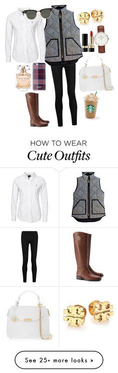 """cute fall outfit!!"" by emidunham on Polyvore featuring Donna Karan, J.Crew, Isaac Mizrahi, Elie Saab, Ray-Ban, Tory Burch, Versace, Daniel Wellington and Dolce&Gabbana"