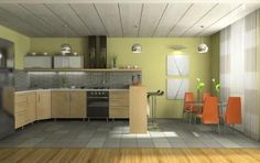 Tones of green often work well in a kitchen with oak cabinetry or a room with oak floor and trim