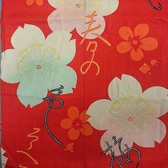 【atelier_sayoko】さんのInstagramをピンしています。 《#母の集めた古布 15 鮮やかな花柄1 モスリンかな?桜に文字がさらさらっと! #pattern #kimono#antique#chellybrossom #文様#着物地#きもの #着物#アンティーク#桜#もすりん》