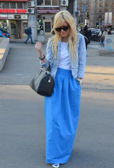 Blue maxi skirt #fashion #style #outfit #look , Zara in Skirts, Louis Vuitton in Bags, Zara in Jackets, Zara in T Shirts