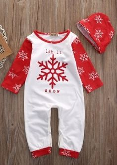 "LET IT SNOW ROMPER PRICE $12.99 OPTIONS: 0/6M, 6/12M, 12/18M, 18/24M To purchase: comment ""sold"", size & email"