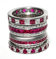 Ruby and Diamond Stackable Rings