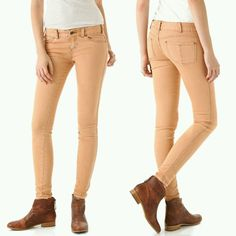 Free People Millennium Colored Skinny Jeans sz 30 in Rust Womens Slim Jeans  #FreePeople #SlimSkinny #coloredjeans #skinnyjeans #onlinethriftboutique
