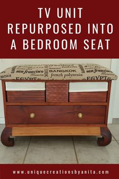 Old TV unit repurposed into a bedroom bench with storage and a upholstered seat to sit on. Storage Bench Seating, Upholstered Storage Bench, Diy Bench, Bench With Storage, Built In Storage, Seat Storage, Diy Furniture Projects, Repurposed Furniture, Diy Projects