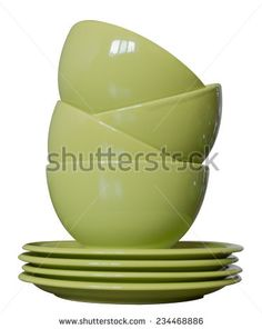 Green Porcelain Bowls Plates Isolated On Stock Photo (Edit Now) 234468886