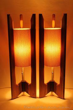 MidCentury Lamps PAIR Danish Modern Lamps Atomic by RetroGrain