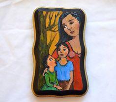 Mother and Her Children - Small Folk Art Painting on Wood - Miniature | SpiritArt - Painting on ArtFire