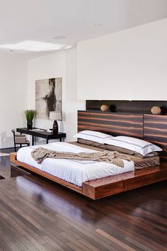 What a gorgeous modern, minimalist bedroom! I love the chunky pieces of wood the bed frame is made from. Plus, what bedroom is complete without a well-placed throw?