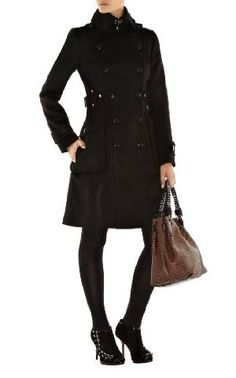 Classic Investment Coat - Heavy double breasted wool coat with mock pleat detail on the back waist with branded Karen Millen metal work and imitation horn buttons. $630