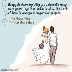 Happy Anniversary Wishes Images and Quotes. Send Anniversary Cards with Messages. Happy wedding anniversary wishes, happy birthday marriage anniversary Wedding Anniversary Quotes For Couple, Anniversary Wishes For Parents, Happy Wedding Anniversary Wishes, Wedding Card Quotes, Anniversary Funny, Birthday Wishes, Birthday Quotes, Wedding Cards, Anniversary Message To Husband
