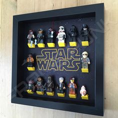 Star Wars Black Frame Display With Mini figures Star Wars Decor, Decoration Star Wars, Lego Minifigure Display, Lego Display, Frame Display, Sala Geek, Boy Room, Kids Room, Bedroom Boys