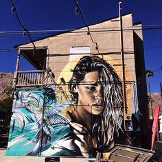 Angelina Christina & Ease outside a Palm Springs, CA bar