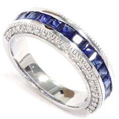 2.05CT VS Diamond & Blue Sapphire Wedding Anniversary Band Engagement Ring