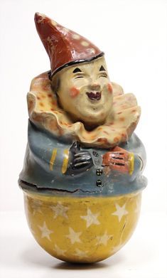 tumbler, Rolly Polly, clown, 36 cm, papier mâché, with flaws at hull , original painting Ladenburger Spielzeugauktion Jack In The Box, Retro Toys, Vintage Toys, Vintage Stuff, Antique Decor, Antique Toys, Pull Wagon, Push Toys, Send In The Clowns