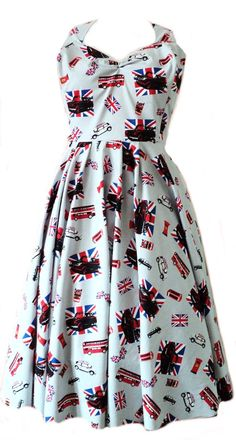 British Classic Union Jack Mini 1950s 40s Shabby Chic Vintage Retro Grey Swing Circle Dress - Made To Order in Standard UK Sizes