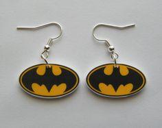 Batman  Earrings Super hero. $6.99, via Etsy.
