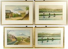 Lot 231: Asian Framed Print Assortment; Four undated items with stamped signatures, depicting farmers and mountains; framed with silk matting, non-glare glass and bamboo style gilt frame