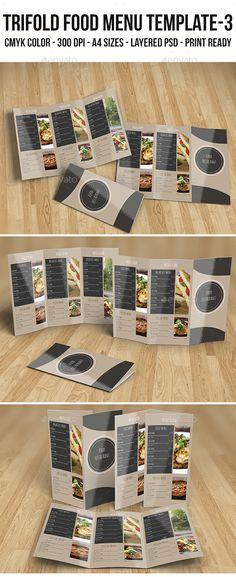 Trifold Food Menu Template 3 - Food Menus Print Templates Download here : https://graphicriver.net/item/trifold-food-menu-template-3/18829111?s_rank=139&ref=Al-fatih