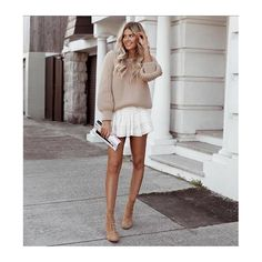 wearing Julian jumper from It's from the light wool collection which is in stores now. By the way, Elle.you nailed it! I Love Mr Mittens, Elle Ferguson, Jumper, White Dress, Legs, Wool, Sweaters, How To Wear, Collection