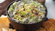 Serve this flavorful spinach dip with pita chips for wonderful appetizers. Perfect if you love Greek cuisine.