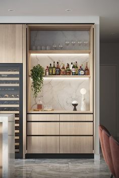 Good contrast to the table, integrated shelf lighting, integrated wine column. Don't need the pocket doors. Modern Kitchen Design, Interior Design Kitchen, Modern Home Bar Designs, Wet Bar Designs, Modern Bar, New Kitchen, Kitchen Decor, Küchen Design, House Design