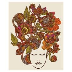 Floral Head Art Wall Sticker Decal by Valentina by MyWallStickers