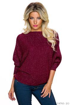 Pulover Only You Burgundy. Pulover tricotat cu fir lame, din material elastic si moale, de grosime medie. Asorteaza-l la blugi si imbraca o tinuta moderna de zi!